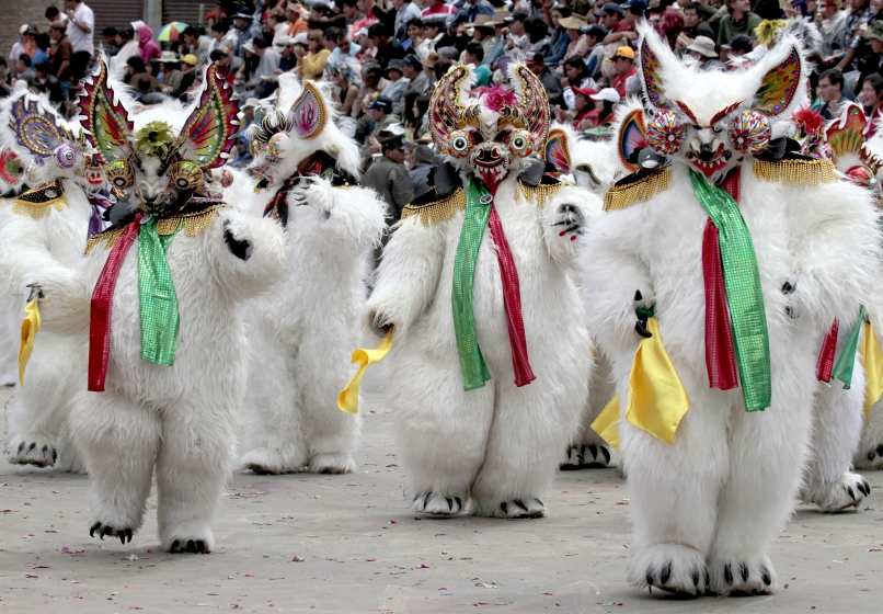 Performers from Diablada group wearing bear costumes take part in the carnival parade in Oruro, Bolivia, on February 18, 2012